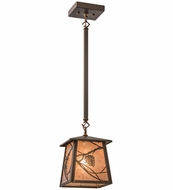 Meyda Tiffany 82387 Whispering Pines Antique Copper/Silver Mica Mini Ceiling Pendant Light