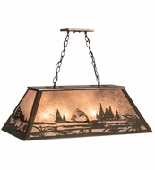 Meyda Tiffany 98682 Leaping Trout Antique Copper/Silver Mica Kitchen Island Light