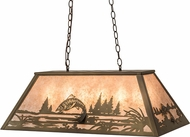 Meyda Tiffany 98682 Leaping Trout Rustic Antique Copper / Silver Mica Kitchen Island Light