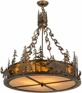 Meyda Tiffany 98742 Moose at Dusk Country Antique Copper Drum Pendant Lighting