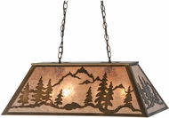Meyda Tiffany 99025 Mountain Range Rustic Antique Copper / Silver Mica Kitchen Island Light Fixture