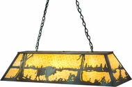 Meyda Tiffany 99239 Buffalo at Lake Rustic Antique Copper / Verdi Beige Island Light Fixture