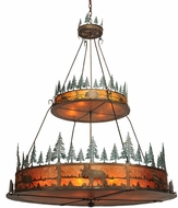 Meyda Tiffany 99767 Wildlife at Pine Lake Tiffany Antique Copper / Amber Mica / Green Trees Drum Pendant Light Fixture