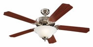 Monte Carlo Fans 5HM52BSD Homeowner Max Plus Brushed Steel 52 Inch Wide Home Ceiling Fan