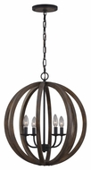 Murray Feiss F2935-4WOW-AF Allier Contemporary Weather Oak Wood / Antique Forged Iron Finish 23.125  Tall Mini Chandelier Light