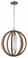 Feiss F2953-1LW-BS Allier Modern Light Wood / Brushed Steel Finish 23  Tall Hanging Pendant Lighting