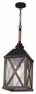 Feiss F2956-1DWO-ORB Lumiere' Country Dark Weathered Oak / Oil Rubbed Bronze Finish 9.5  Wide Foyer Hanging Pendant Light