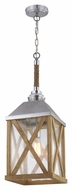 Murray Feiss F2956-1NO Lumiere' Rustic Natural Oak / Brushed Aluminum Finish 26  Tall Foyer Pendant Hanging Light