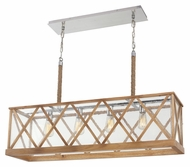 Feiss F2957-4NO Lumiere' Rustic Natural Oak / Brushed Aluminum Finish 26  Tall Bath Lighting