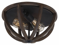 Murray Feiss FM400WOW-AF Allier Weather Oak Wood / Antique Forged Iron Finish 13  Wide Flush Mount Light Fixture