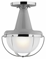 Murray Feiss FM402HGG-PN Livingston Contemporary High Gloss Gray / Polished Nickel Finish 11.5  Tall Flush Mount Ceiling Light Fixture