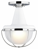 Feiss FM402HGW-PN Livingston Modern High Gloss White / Polished Nickel Finish 9  Wide Home Ceiling Lighting