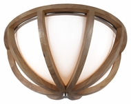Feiss FM409LW-BS Allier Light Wood / Brushed Steel Finish 13  Wide Flush Mount Ceiling Light Fixture