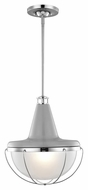 Feiss P1284HGG-PN Livingston Modern High Gloss Gray / Polished Nickel Finish 13.875  Wide Pendant Light