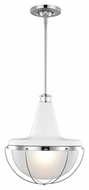 Feiss P1284HGW-PN Livingston Contemporary High Gloss White / Polished Nickel Finish 16  Tall Lighting Pendant