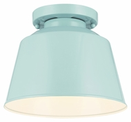 Feiss SF314SHBL Freemont Contemporary Hi Gloss Blue Finish 7.125  Tall Flush Ceiling Light Fixture