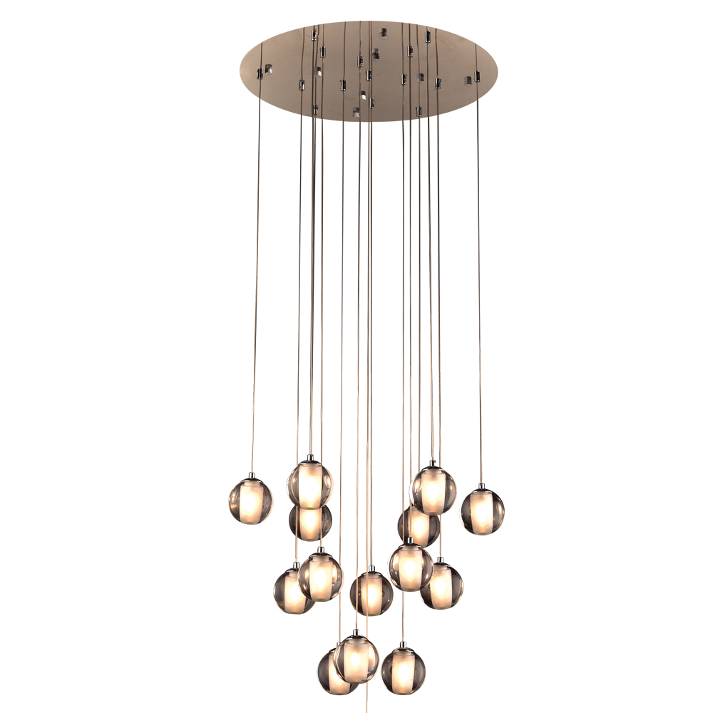 Plc 92935pc nuetron modern polished chrome multi pendant for Contemporary lighting pendants