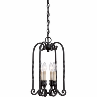 Quoizel ATM5304K Atrium Traditional Mystic Black Finish 12  Wide Mini Ceiling Chandelier