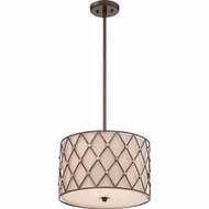 Quoizel BWL2816CC Brown Lattice Copper Canyon Finish 16  Wide Drum Hanging Lamp