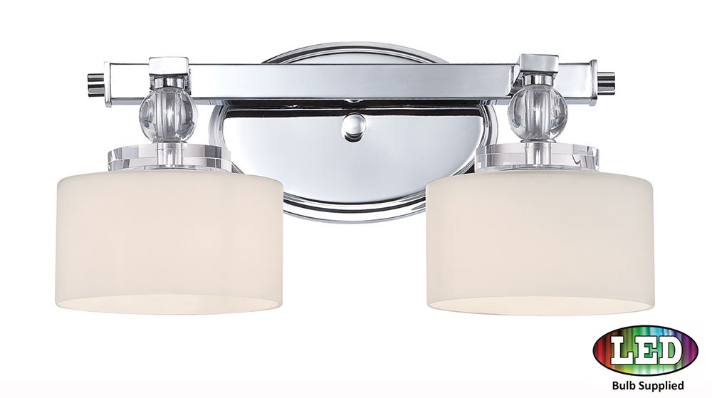 ... DW8602CLED Downtown Polished Chrome LED 2-Light Bathroom Vanity Light