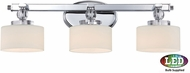 Quoizel DW8603CLED Downtown Polished Chrome LED 3-Light Vanity Light Fixture