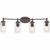 Quoizel EDS8604WT Edison Vintage Western Bronze Finish 32.5  Wide 4 Light Bathroom Vanity Light