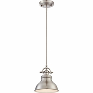 Quoizel ER1508BN Emery Retro Brushed Nickel Finish 9  Tall Mini Pendant Light Fixture