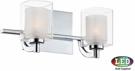 Quoizel KLT8602CLED Kolt Modern Polished Chrome LED 2-Light Bathroom Light