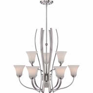 Quoizel KPR5009BN Kemper Contemporary Brushed Nickel Finish 34  Wide Chandelier Lamp