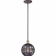 Quoizel LBH1509WT Long Beach Western Bronze Finish 11  Tall Mini Drop Ceiling Light Fixture