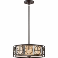 Quoizel MC2443WT Mica Western Bronze Drum Hanging Pendant Light