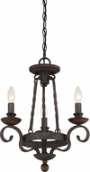 Quoizel NBE5303RK Noble Traditional Rustic Black Mini Hanging Chandelier