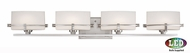 Quoizel NN8604BNLED Nolan Contemporary Brushed Nickel LED 4-Light Bathroom Vanity Light