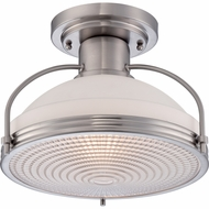 Quoizel QF1678BN Warren Nautical Brushed Nickel Finish 13.5  Wide Flush Mount Lighting Fixture