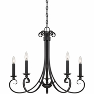 Quoizel SNS5005K Salinas Traditional Mystic Black Finish 24.5  Tall Ceiling Chandelier