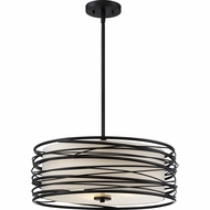 Quoizel SPL2820K Spiral Contemporary Mystic Black Drum Hanging Pendant Light