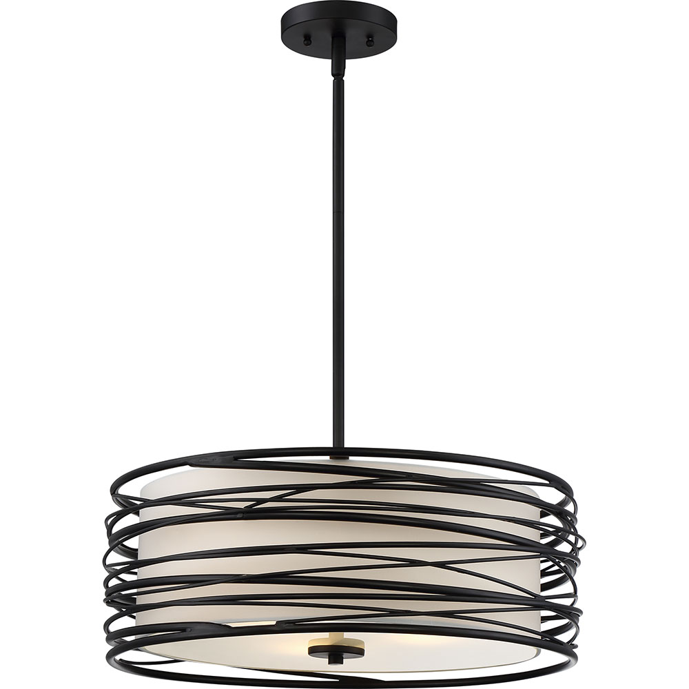 Quoizel spl2820k spiral contemporary mystic black drum for Contemporary lighting pendants