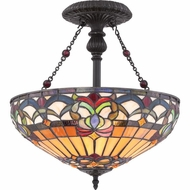 Quoizel TF1511SVB Belle Fleur Tiffany Vintage Bronze Finish 16  Wide Overhead Lighting Fixture