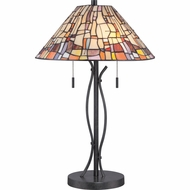 Quoizel TF1693TVK Stinson Tiffany Vintage Black Finish 24  Tall Lighting Table Lamp