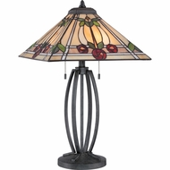 Quoizel TF1694TVK Ruby Tiffany Vintage Black Finish 25.5  Tall Table Lamp Lighting