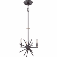 Quoizel UPCN5003WT Uptown Carnegie Modern Western Bronze Finish 13  Wide Mini Chandelier Lighting