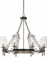 Savoy House 1-5041-8-81 Gramercy Modern Polished Pewter w/ Black Leatherette 8-Light Lighting Chandelier