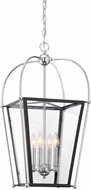 Savoy House 3-9074-4-67 Dunbar Modern Matte Black w/ Polished Chrome Accent Foyer Light Fixture
