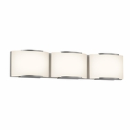 Sonneman 3873.13LED Wave Modern Satin Nickel Finish 5.25  Tall LED 3 Light Bathroom Sconce Lighting