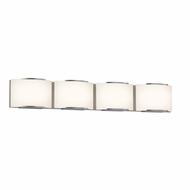 Sonneman 3874.13LED Wave Modern Satin Nickel Finish 5.25  Tall LED 4 Light Bathroom Wall Light Fixture