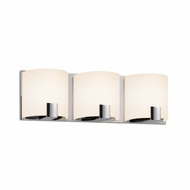 Sonneman 3893.01LED C-Shell Contemporary Polished Chrome Finish 16  Wide LED 3 Light Bathroom Vanity Lighting