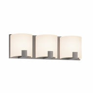 Sonneman 3893.13LED C-Shell Modern Satin Nickel Finish 5  Tall LED 3 Light Bathroom Vanity Light