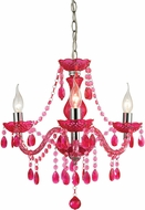 Sterling 144-014 Theatre Contemporary Cerise Pink & Chrome Mini Hanging Chandelier