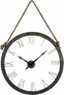 Sterling 26-8643 Leona Rustic Iron & Silver Metal Wall Clock Hung On Rope