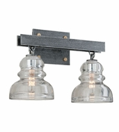 Troy B3952 Menlo Park Vintage Old Silver Finish 15.25  Wide 2-Light Bathroom Light